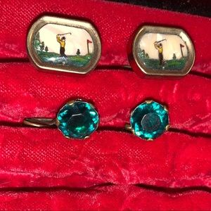 1950s green cuff links